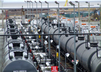 Rail tank cars at the Irving Oil refinery, Saint John, New Brunswick. Photo by Lance Tapley
